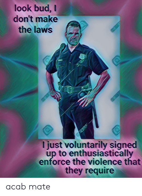 Signed: look bud,  don't make  the laws  125  123RE  I just voluntarily signed  up to enthusiastically  enforce the violence that  they require acab mate