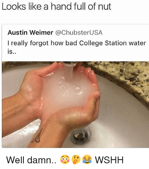Bad, College, and Memes: Looks like a hand full of nut  Austin Weimer @ChubsterUSA  I really forgot how bad College Station water  S. Well damn.. 😳🤔😂 WSHH