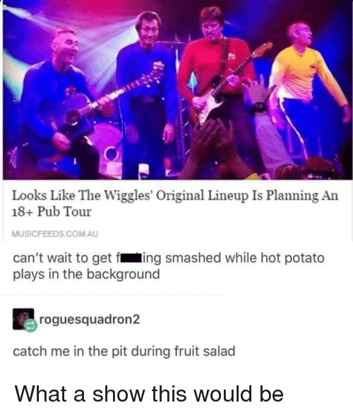 fing: Looks Like The Wiggles' Original Lineup Is Planning An  18+ Pub Tour  MUSICFEEDS.COM.AU  can't wait to get fing smashed while hot potato  plays in the background  roguesquadron2  catch me in the pit during fruit salad What a show this would be