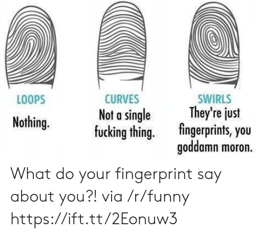 Fucking, Funny, and Single: LOOPS  CURVES  Not a single  fucking thing.  SWIRLS  They're just  fingerprints, you  goddamn moron.  y eus  Nothing. What do your fingerprint say about you?! via /r/funny https://ift.tt/2Eonuw3