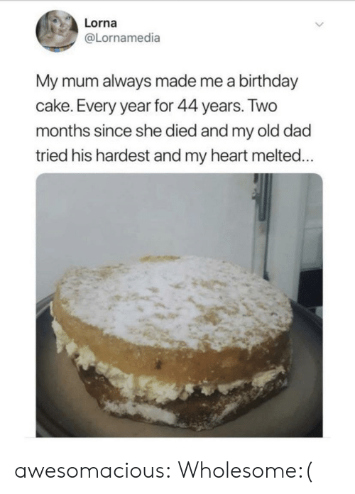 My Old: Lorna  @Lornamedia  My mum always made me a birthday  cake. Every year for 44 years. Two  months since she died and my old dad  tried his hardest and my heart melted... awesomacious:  Wholesome:(