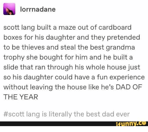 Lang: lorrnadane  scott lang built a maze out of cardboard  boxes for his daughter and they pretended  to be thieves and steal the best grandma  trophy she bought for him and he built a  slide that ran through his whole house just  so his daughter could have a fun experience  without leaving the house like he's DAD OF  THE YEAR  #scott lang is literally the best dad ever  ifunny.co