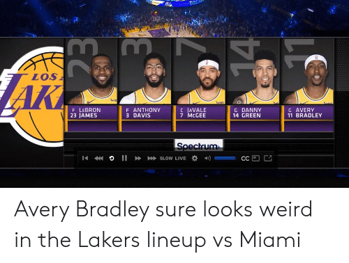 Los Angeles Lakers, Nba, and Weird: LOS  AK  wis  wish  Juish.  G AVERY  11 BRADLEY  C JAVALE  7 MCGEE  F LEBRON  23 JAMES  F ANTHONY  3 DAVIS  G DANNY  14 GREEN  Specirum  I I» SLOW LIVE  CC Avery Bradley sure looks weird in the Lakers lineup vs Miami