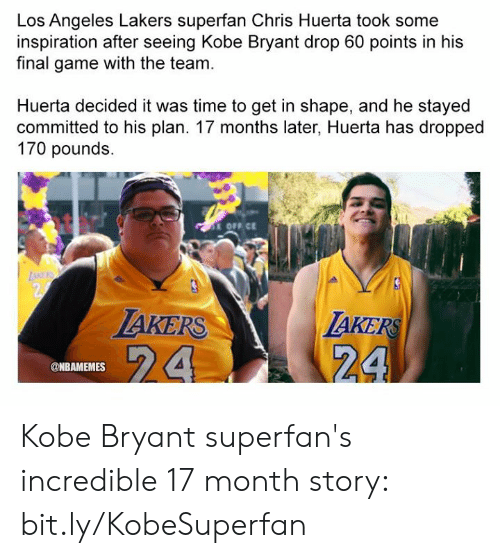 Kobe Bryant, Los Angeles Lakers, and Los-Angeles-Lakers: Los Angeles Lakers superfan Chris Huerta took some  inspiration after seeing Kobe Bryant drop 60 points in his  final game with the team.  Huerta decided it was time to get in shape, and he stayed  committed to his plan. 17 months later, Huerta has dropped  170 pounds.  OFF CE  TAKERS  24  AKERS  @NBAMEMES Kobe Bryant superfan's incredible 17 month story: bit.ly/KobeSuperfan