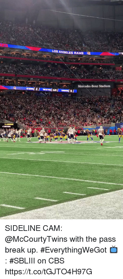 Los Angeles Rams, Memes, and Mercedes: LOS ANGELES RAMS  Mercedes-Benz Stadium SIDELINE CAM: @McCourtyTwins with the pass break up. #EverythingWeGot  📺: #SBLIII on CBS https://t.co/tGJTO4H97G