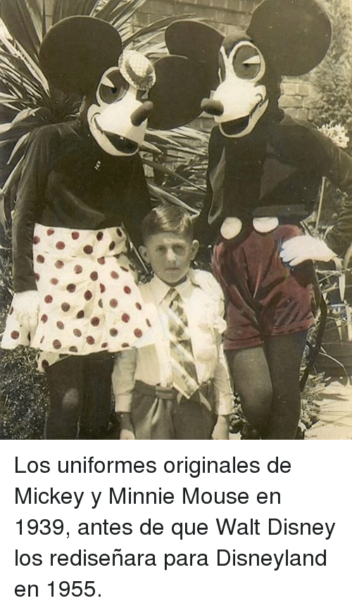 Disney, Disneyland, and Minnie Mouse: Los uniformes originales de Mickey y Minnie Mouse en 1939, antes de que Walt Disney los rediseñara para Disneyland en 1955.