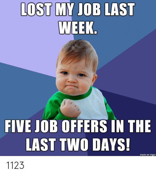 My Job: LOST MY JOB LAST  WEEK.  FIVE JOB OFFERS IN THE  LAST TWO DAYS!  made on imgur 1123