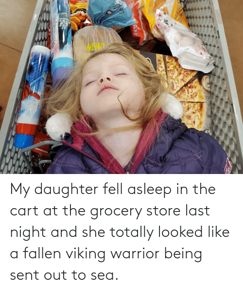 Cart: Lotange My daughter fell asleep in the cart at the grocery store last night and she totally looked like a fallen viking warrior being sent out to sea.