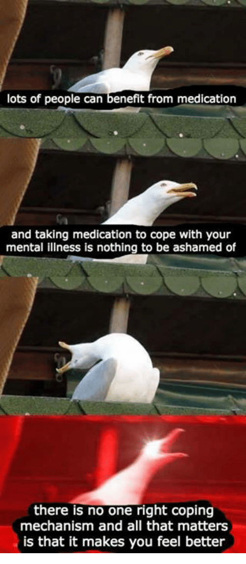 All That, Lots, and Can: lots of people can benefit from medication  and taking medication to cope with your  mental illness is nothing to be ashamed of  there is no one right coping  mechanism and all that matters  is that it makes you feel better