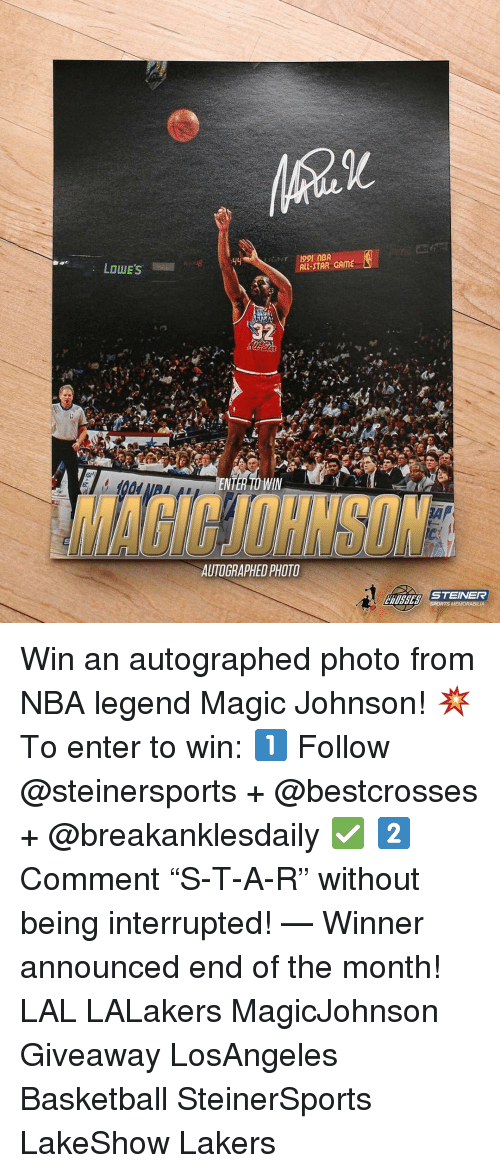 """memorabilia: LOUIE's  MBA  ALL-STAR GAME  NTE WIN  AUTOGRAPHED PHOTO  STEINER  SPORTS MEMORABILIA Win an autographed photo from NBA legend Magic Johnson! 💥 To enter to win: 1️⃣ Follow @steinersports + @bestcrosses + @breakanklesdaily ✅ 2️⃣ Comment """"S-T-A-R"""" without being interrupted! — Winner announced end of the month! LAL LALakers MagicJohnson Giveaway LosAngeles Basketball SteinerSports LakeShow Lakers"""