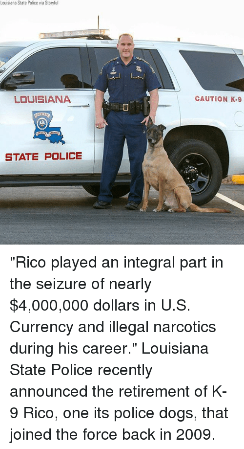 """k-9: Louisiana State Police via Storyful  LOUISIANA  CAUTION K.9  STATE POLICE """"Rico played an integral part in the seizure of nearly $4,000,000 dollars in U.S. Currency and illegal narcotics during his career."""" Louisiana State Police recently announced the retirement of K-9 Rico, one its police dogs, that joined the force back in 2009."""