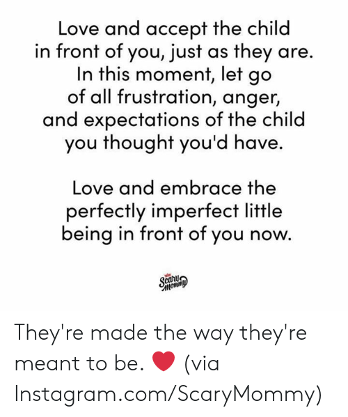 Dank, Instagram, and Love: Love and accept the child  in front of you, just as they are.  In this moment, let go  of all frustration, anger,  and expectations of the child  you thought you'd have.  Love and embrace the  perfectly imperfect little  being in front of you now.  Scary  тотто They're made the way they're meant to be. ❤️  (via Instagram.com/ScaryMommy)
