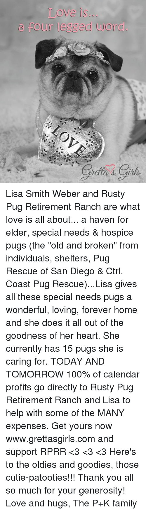 "hospice: Love is...  four legged word. Lisa Smith Weber and Rusty Pug Retirement Ranch are what love is all about... a haven for elder, special needs & hospice pugs (the ""old and broken"" from individuals, shelters, Pug Rescue of San Diego & Ctrl. Coast Pug Rescue)...Lisa gives all these special needs pugs a wonderful, loving, forever home and she does it all out of the goodness of her heart. She currently has 15 pugs she is caring for.   TODAY AND TOMORROW 100% of calendar profits go directly to Rusty Pug Retirement Ranch and Lisa to help with some of the MANY expenses. Get yours now www.grettasgirls.com and support RPRR <3 <3 <3 Here's to the oldies and goodies, those cutie-patooties!!!  Thank you all so much for your generosity! Love and hugs, The P+K family"