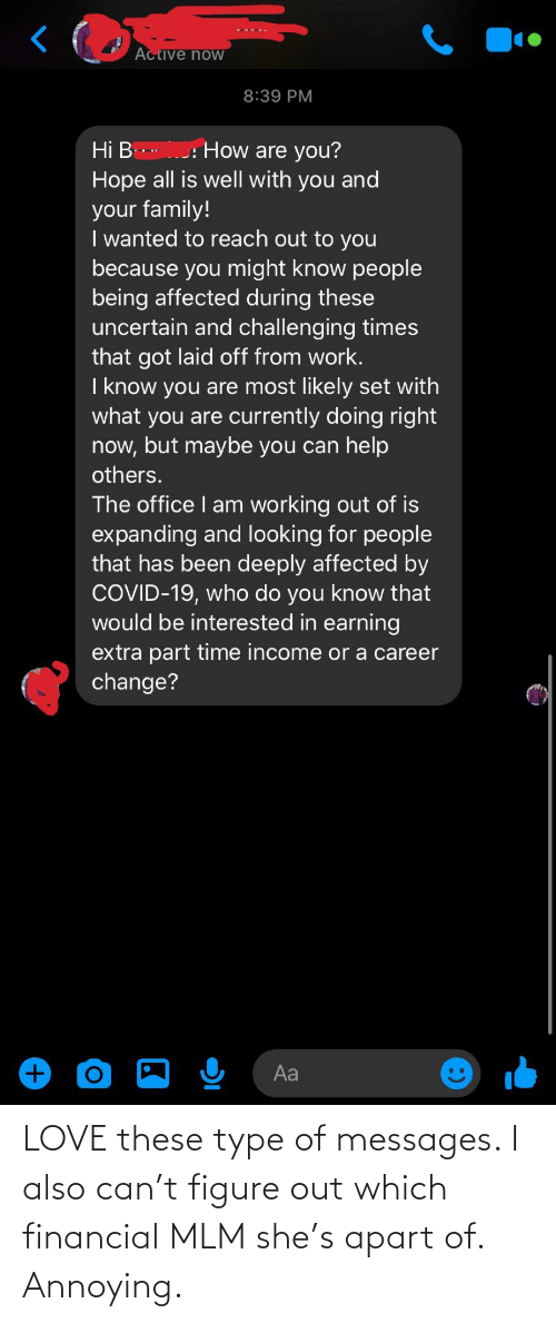 Financial: LOVE these type of messages. I also can't figure out which financial MLM she's apart of. Annoying.
