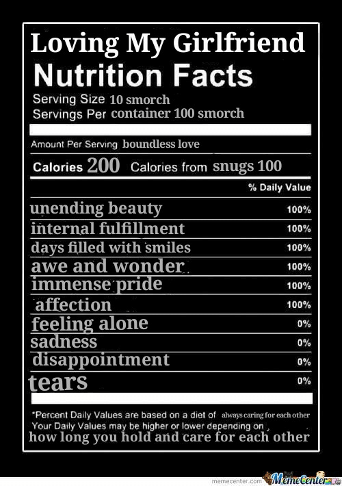 Fulfillment: Loving My Girlfriend  Nutrition Facts  Serving Size 10 smorch  Servings Per container 100 smorch  Amount Per Serving boundless love  Calories 200 Calories from snugs 100  unending beauty  internal fulfillment  days filled with smiles  awe and wonder  immense pride  affection  feeling alone  sadness  % Daily Value  100%  100%  100%  100%  100%  100%  0%  0%  0%  0%  sappointment  tears  Percent Daily Values are based on a diet of always caring for each other  Your Daily Values may be higher or lower depending on,  how long you old and care for 'eachí other'  をM une Center