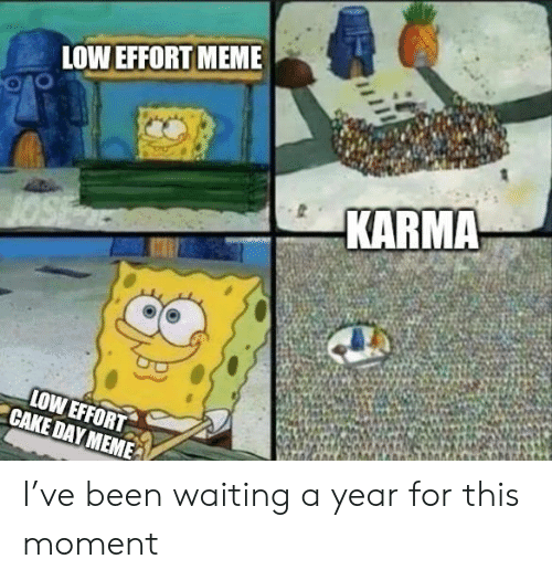 Meme, Cake, and Karma: LOW EFFORT MEME  KARMA  LOW EFFORT  CAKE DAY MEME I've been waiting a year for this moment