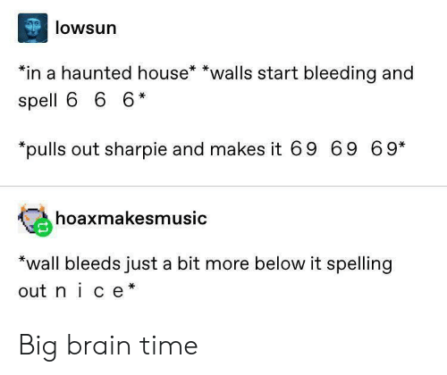 spelling: lowsun  *in a haunted house* *walls start bleeding and  spell 6 6 6*  pulls out sharpie and makes it 69 69 69*  hoaxmakesmusic  *wall bleeds just a bit more below it spelling  out nice* Big brain time