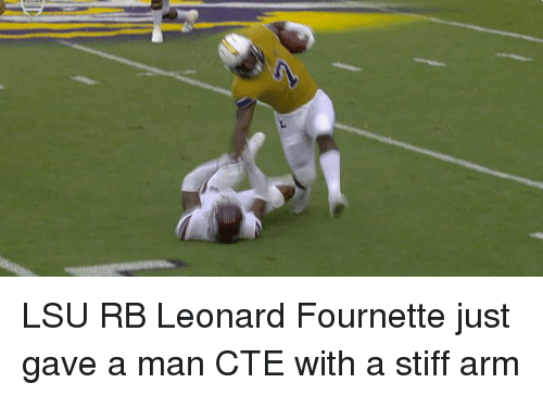 Nfl, Arms, and Lsu: LSU RB Leonard Fournette just gave a man CTE with a stiff arm