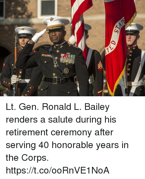 Corpsing: Lt. Gen. Ronald L. Bailey renders a salute during his retirement ceremony after serving 40 honorable years in the Corps. https://t.co/ooRnVE1NoA