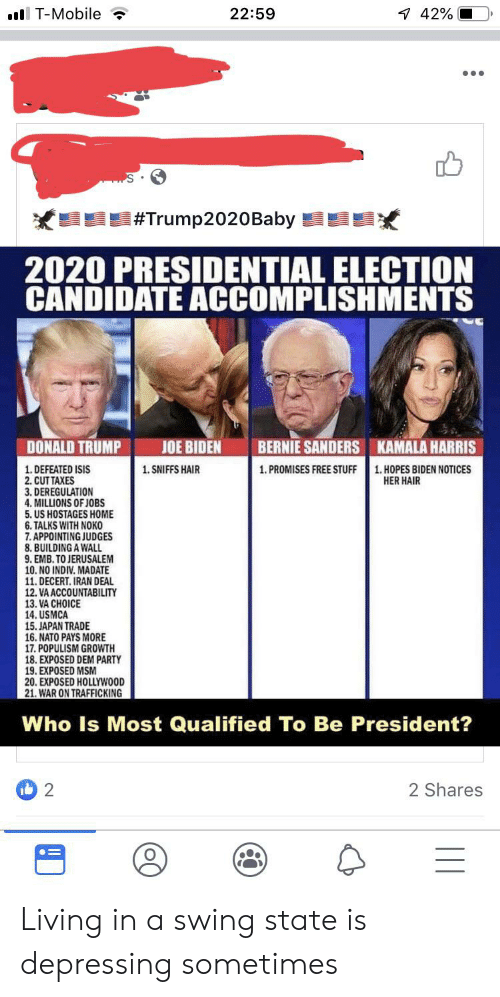 Bernie Sanders, Donald Trump, and Isis: lT-Mobile  22:59  42%  #Trump2020Baby  2020 PRESIDENTIAL ELECTION  CANDIDATE ACCOMPLISHMENTS  DONALD TRUMP  JOE BIDEN  BERNIE SANDERS  KAMALA HARRIS  1. HOPES BIDEN NOTICES  HER HAIR  1. DEFEATED ISIS  2. CUT TAXES  3. DEREGULATION  4.MILLIONS OF JOBS  5. US HOSTAGES HOME  6. TALKS WITH NOKO  7. APPOINTING JUDGES  8. BUILDING A WALL  9. EMB. TO JERUSALEM  10. NO INDIV. MADATE  11. DECERT. IRAN DEAL  12. VA ACCOUNTABILITY  13. VA CHOICE  14. USMCA  15. JAPAN TRADE  16. NATO PAYS MORE  17. POPULISM GROWTH  18. EXPOSED DEM PARTY  19. EXPOSED MSM  20. EXPOSED HOLLYWOOD  21. WAR ON TRAFFICKING  1. SNIFFS HAIR  1. PROMISES FREE STUFF  Who Is Most Qualified To Be President?  2  2 Shares Living in a swing state is depressing sometimes