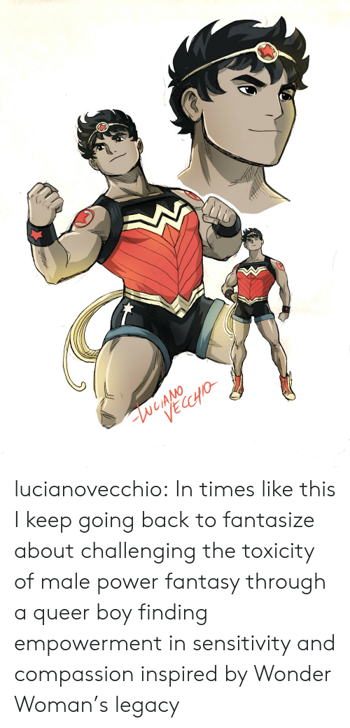 Wonder Woman: lucianovecchio:  In times like this I keep going back to fantasize about challenging the toxicity of male power fantasy through a queer boy finding empowerment in sensitivity and compassion inspired by Wonder Woman's legacy