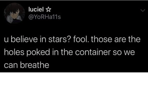 Dank, Holes, and Stars: luciel  @YoRHa11s  u believe in stars? fool. those are the  holes poked in the container so we  can breathe