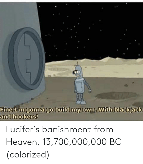 Lucifer: Lucifer's banishment from Heaven, 13,700,000,000 BC (colorized)