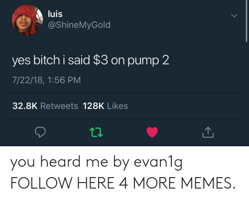 heard me: luis  @ShineMyGold  yes bitch i said $3 on pump 2  7/22/18, 1:56 PM  32.8K Retweets 128K Likes you heard me by evan1g FOLLOW HERE 4 MORE MEMES.