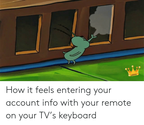 Keyboard, How, and Account: LUISITO How it feels entering your account info with your remote on your TV's keyboard