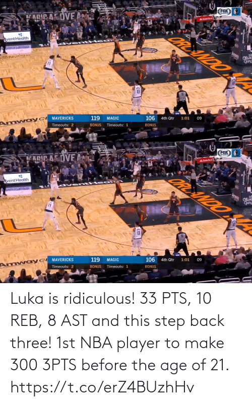 step: Luka is ridiculous!  33 PTS, 10 REB, 8 AST and this step back three!   1st NBA player to make 300 3PTS before the age of 21. https://t.co/erZ4BUzhHv