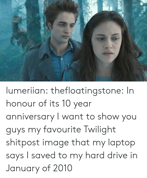 Drive In: lumeriian: thefloatingstone:  In honour of its 10 year anniversary I want to show you guys my favourite Twilight shitpost image that my laptop says I saved to my hard drive in January of 2010