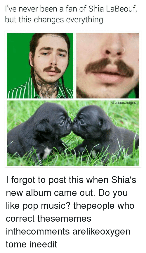 Changes Everything: lve never been a fan of Shia La Beouf  but this changes everything  @ chaos.reians I forgot to post this when Shia's new album came out. Do you like pop music? thepeople who correct thesememes inthecomments arelikeoxygen tome ineedit