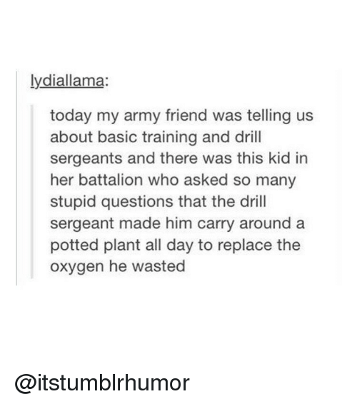 Basic Training: lydiallama:  today my army friend was telling us  about basic training and drill  sergeants and there was this kid in  her battalion who asked so many  stupid questions that the drill  sergeant made him carry around a  potted plant all day to replace the  oxygen he wasted @itstumblrhumor