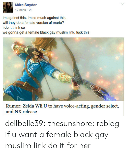 Zelda: Mårc Snyder  17 mins.  im against this. im so much against this.  will they do a female version of mario?  i dont think so  we gonna get a female black gay muslim link. fuck this  Rumor: Zelda Wii U to have voice-acting, gender select,  and NX release dellbelle39: thesunshore:  reblog if u want a female black gay muslim link   do it for her
