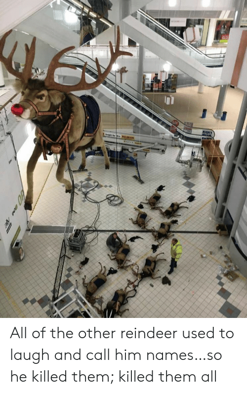 names: M All of the other reindeer used to laugh and call him names…so he killed them; killed them all