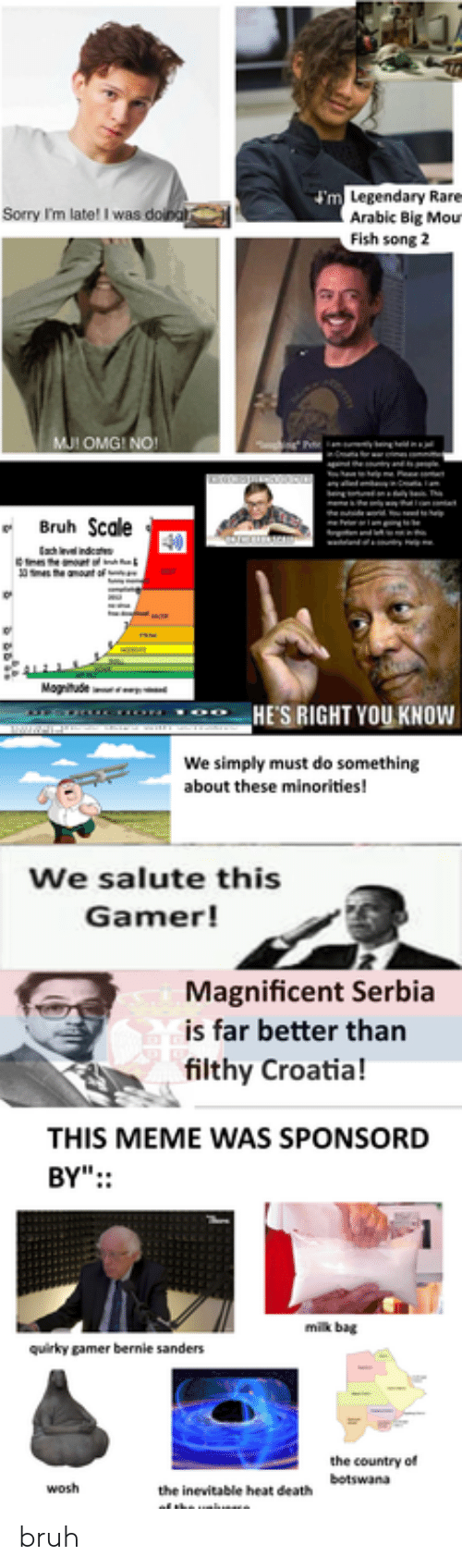 """Bernie Sanders, Bruh, and Meme: m Legendary Rare  Arabic Big Mou  Fish song 2  Sorry I'm late! I was doina  MJI OMG! NO!  ng  Bruh Scale  Fr  m  e anount of  Magitude  HE'S RIGHT YOU KNOWw  We simply must do something  about these minorities!  We salute this  Gamer!  Magnificent Serbia  is far better than  filthy Croatia!  THIS MEME WAS SPONSORD  BY"""":  milk bag  quirky gamer bernie sanders  the country of  the inevitable heat de  of the unuae  botswana  wosh bruh"""
