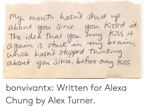 Turner: m mouh hosni shut up  about o Sin  The idsa that o  agoim is stuck iin  which hasnt Stopped tunkin  aubout yor Since, before any kuss  sit S bonvivantx: Written for Alexa Chung by Alex Turner.