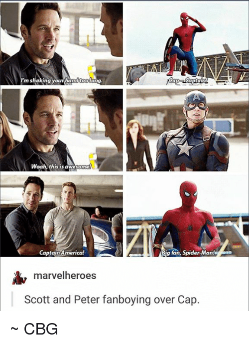 Fanli: m shaking your hand toolong  Captain!  Woah this is awesome  Captain America!  Big fan, Spider-Man!  marvel heroes  Scott and Peter fanboying over Cap ~ CBG ☆☆