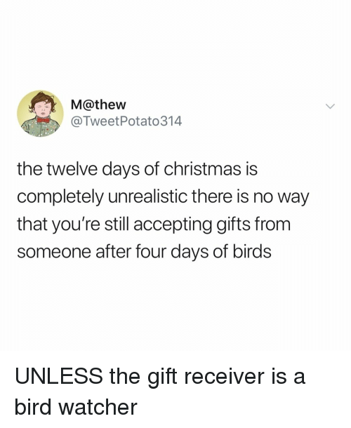 Watcher: M@thew  @TweetPotato314  the twelve days of christmas is  completely unrealistic there is no way  that you're still accepting gifts from  someone after four days of birds UNLESS the gift receiver is a bird watcher