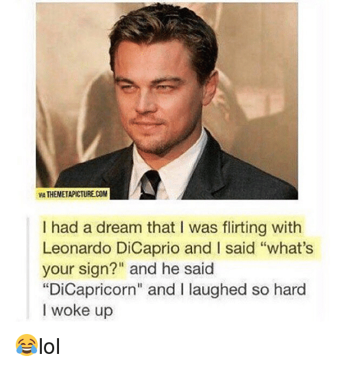 """hardness: MA THEMETAPICTURE.COM  I had a dream that I was flirting with  Leonardo DiCaprio and I said """"what's  your sign?"""" and he said  """"DiCapricorn"""" and I laughed so hard  I woke up 😂lol"""