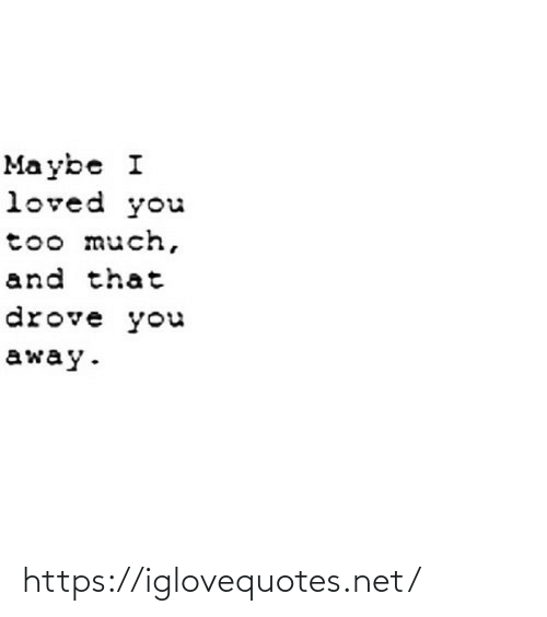 Too Much, Net, and Mø: Ma ybe I  loved you  too much,  and that  drove you  away. https://iglovequotes.net/