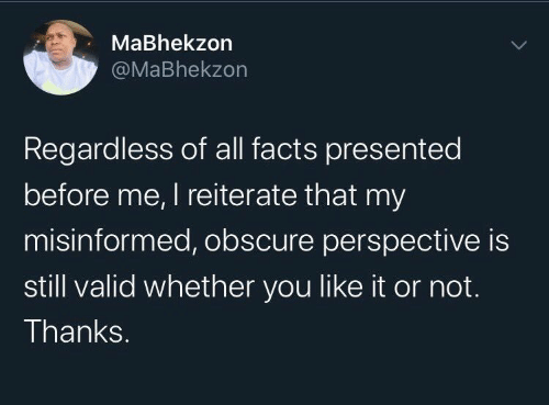 Facts, All, and Obscure: MaBhekzon  @MaBhekzon  Regardless of all facts presented  before me, I reiterate that my  misinformed, obscure perspective is  still valid whether you like it or not.  Thanks.