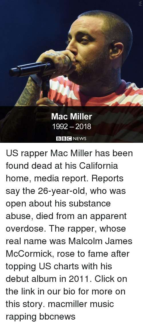 Topping: Mac Miller  1992 2018  BBC NEWS US rapper Mac Miller has been found dead at his California home, media report. Reports say the 26-year-old, who was open about his substance abuse, died from an apparent overdose. The rapper, whose real name was Malcolm James McCormick, rose to fame after topping US charts with his debut album in 2011. Click on the link in our bio for more on this story. macmiller music rapping bbcnews