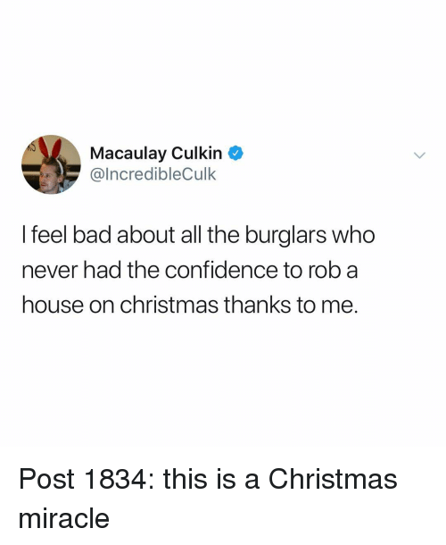 Bad, Christmas, and Confidence: Macaulay Culkin  IncredibleCulk  I feel bad about all the burglars who  never had the confidence to rob a  house on christmas thanks to me. Post 1834: this is a Christmas miracle