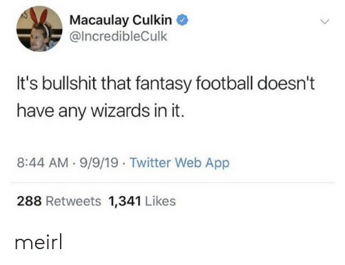 Fantasy Football, Football, and Macaulay Culkin: Macaulay Culkin  @IncredibleCulk  It's bullshit that fantasy football doesn't  have any wizards in it  8:44 AM 9/9/19 Twitter Web App  288 Retweets 1,341 Likes meirl