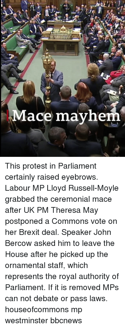 mace: Mace mayhe This protest in Parliament certainly raised eyebrows. Labour MP Lloyd Russell-Moyle grabbed the ceremonial mace after UK PM Theresa May postponed a Commons vote on her Brexit deal. Speaker John Bercow asked him to leave the House after he picked up the ornamental staff, which represents the royal authority of Parliament. If it is removed MPs can not debate or pass laws. houseofcommons mp westminster bbcnews