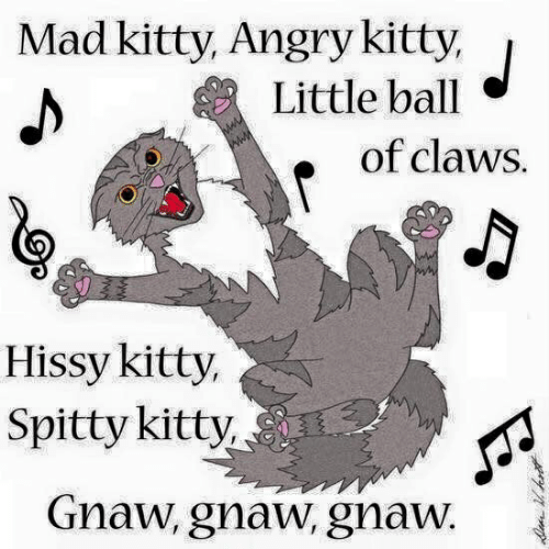 Angry, Mad, and Ball: Mad kitty, Angry kitty,  Little ball  of claws.  Hissy kitty,  Spitty kitty  Gnaw, gnaw, gnaW.