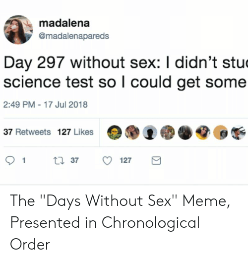 """I Need Sex Meme: madalena  @madalenapareds  Day 297 without sex: I didn't stu  science test so l could get some  2:49 PM-17 Jul 2018  37 Retweets 127 Likes  9137 127 The """"Days Without Sex"""" Meme, Presented in Chronological Order"""