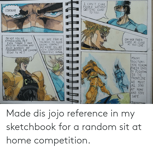 competition: Made dis jojo reference in my sketchbook for a random sit at home competition.