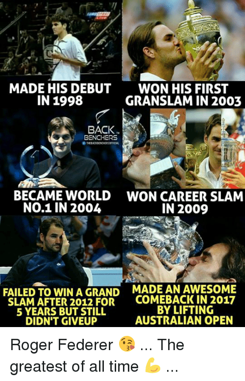 Rogered: MADE HIS DEBUT  IN 1998  WON HIS FIRST  GRANSLAM IN 2003  BACK  BENCHERS  THEBACKBENCHERSOFICAL  ぐ  BECAME WORLD  NO.1 IN 2004  WON CAREER SLAM  IN 2009  FAILED TO WIN A GRAND  SLAM AFTER 2012 FOR  5 YEARS BUT STILL  DIDN'T GIVEUP  MADE AN AWESOME  COMEBACK IN 2017  BY LIFTING  AUSTRALIAN OPEN Roger Federer 😘 ... The greatest of all time 💪 ...